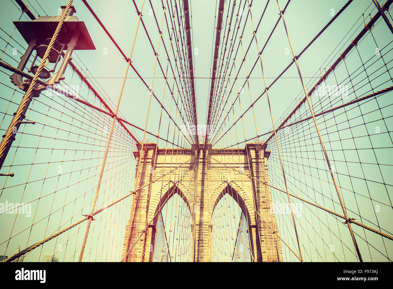 Retro toned picture of the Brooklyn Bridge in New York City, USA. - Stock Image