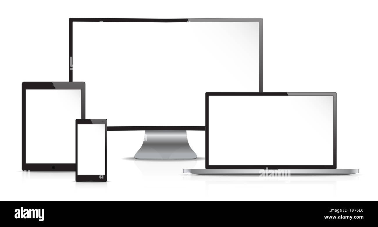 Vector of Non Branded Electronic devices. Front view. Copy Space. - Stock Image