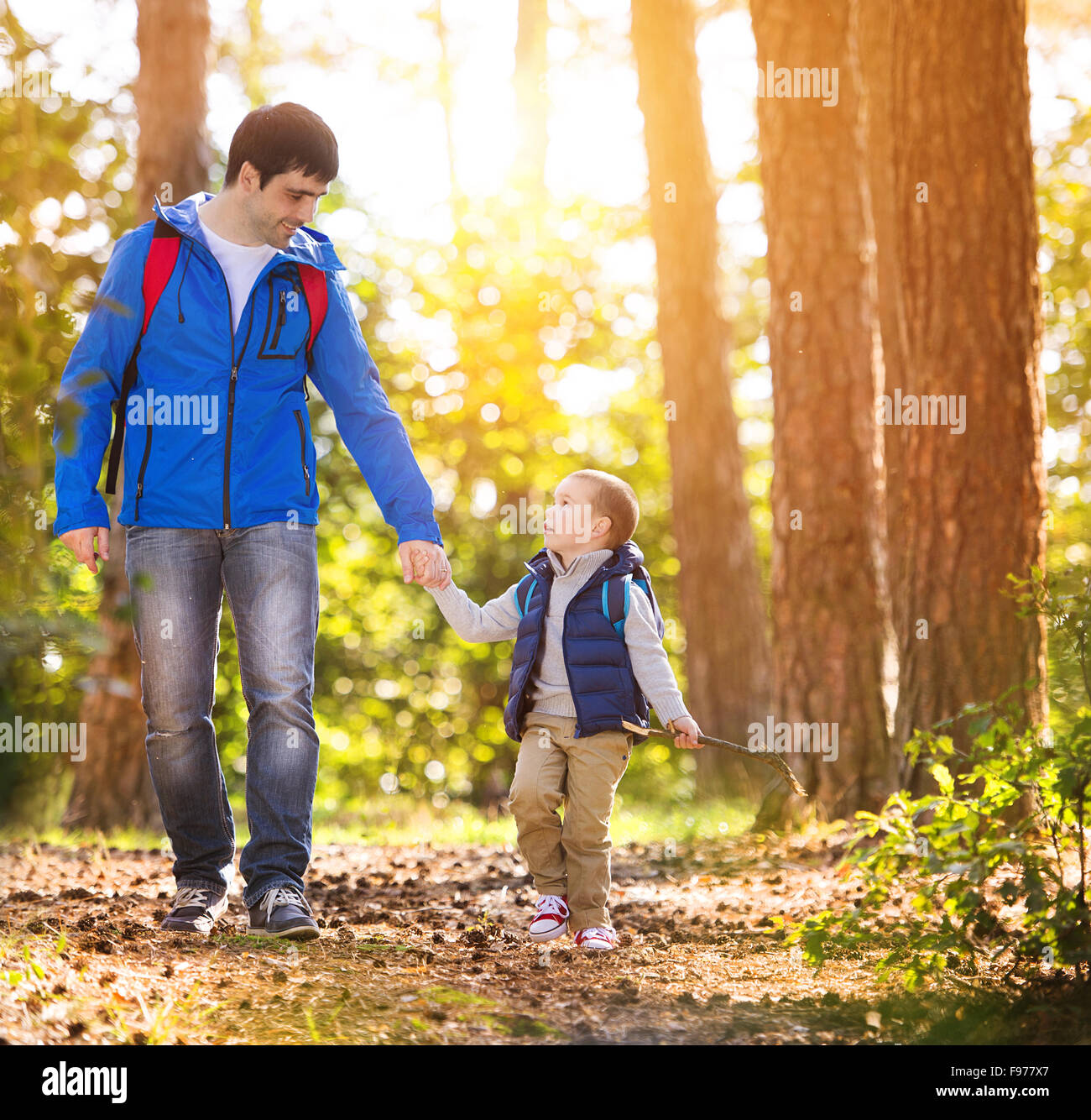 Father and son walking during the hiking activities in autumn forest at sunset - Stock Image