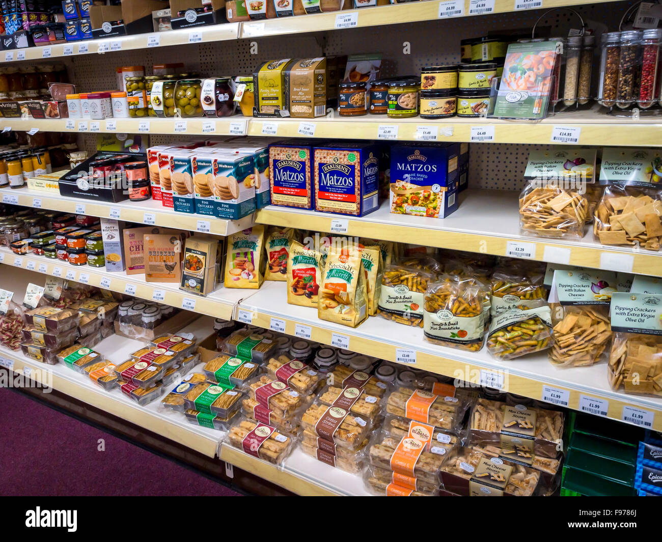 Garden Centre food department in North Yorkshire England UK display of savoury biscuits and pickles - Stock Image