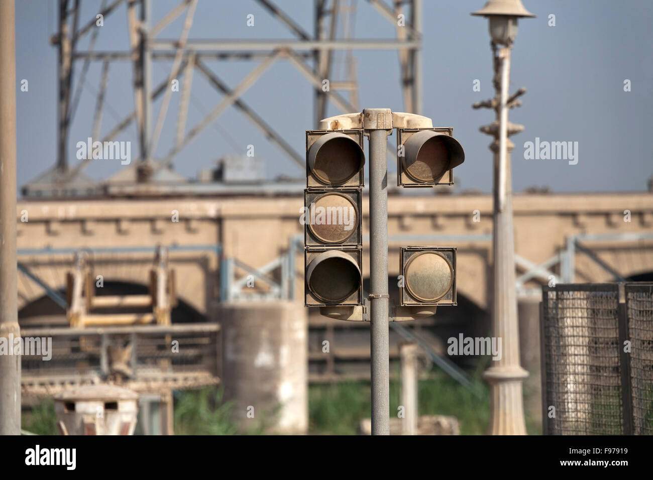 warning lights at a bridge on the Nile in Middle Egypt - Stock Image