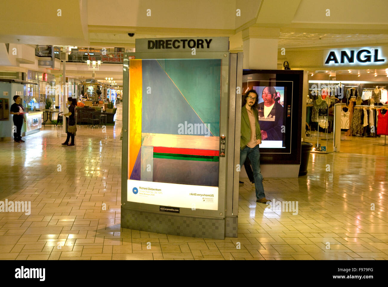 Fine Art images appear on digital advertising kiosks in a shopping mall in Los Angeles during the Art Everywhere - Stock Image