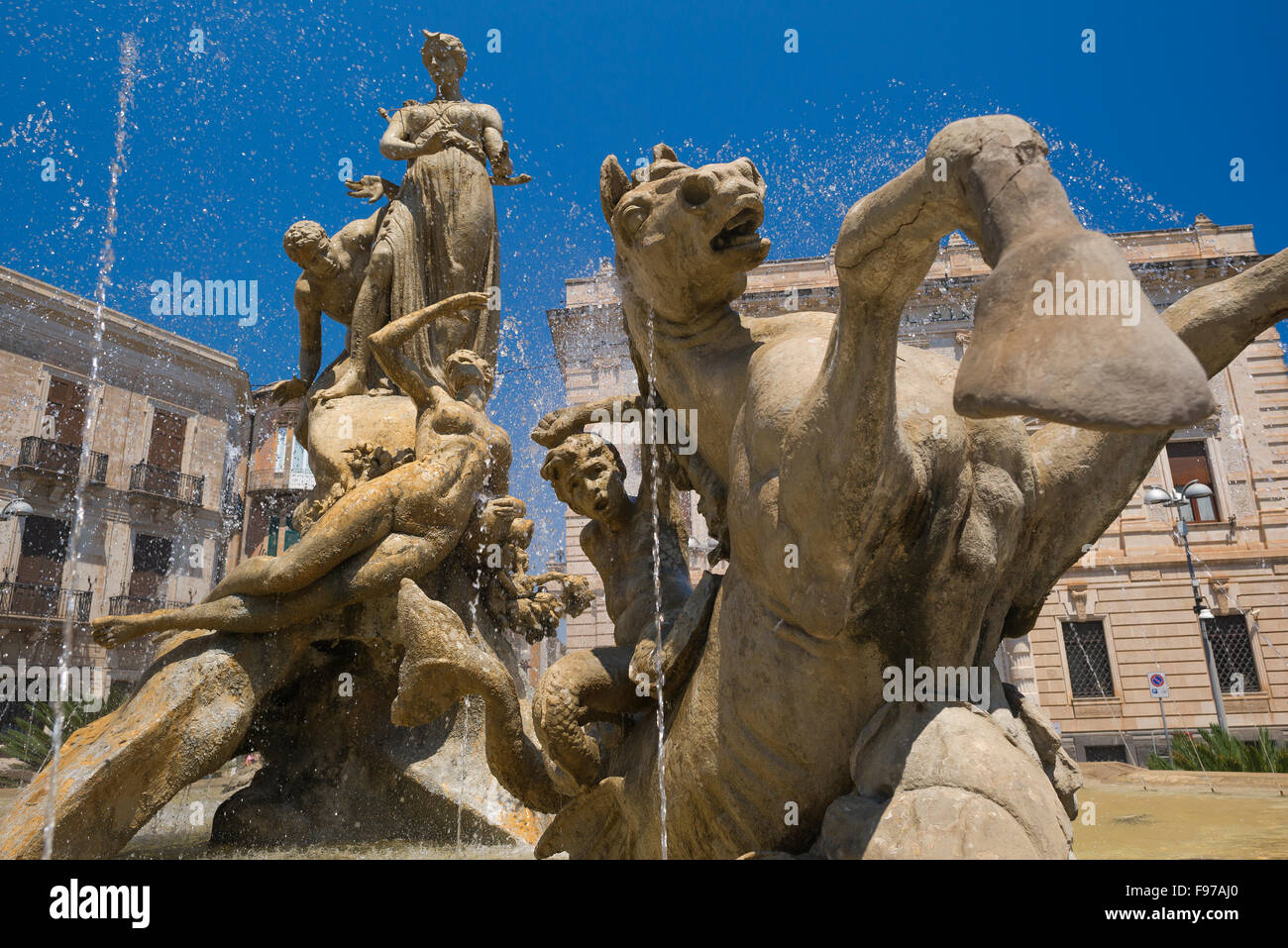Ortigia Sicily, view of the Fountain of Artemis in the Piazza Archimede in Ortigia (Ortygia), Syracuse (Siracusa), - Stock Image