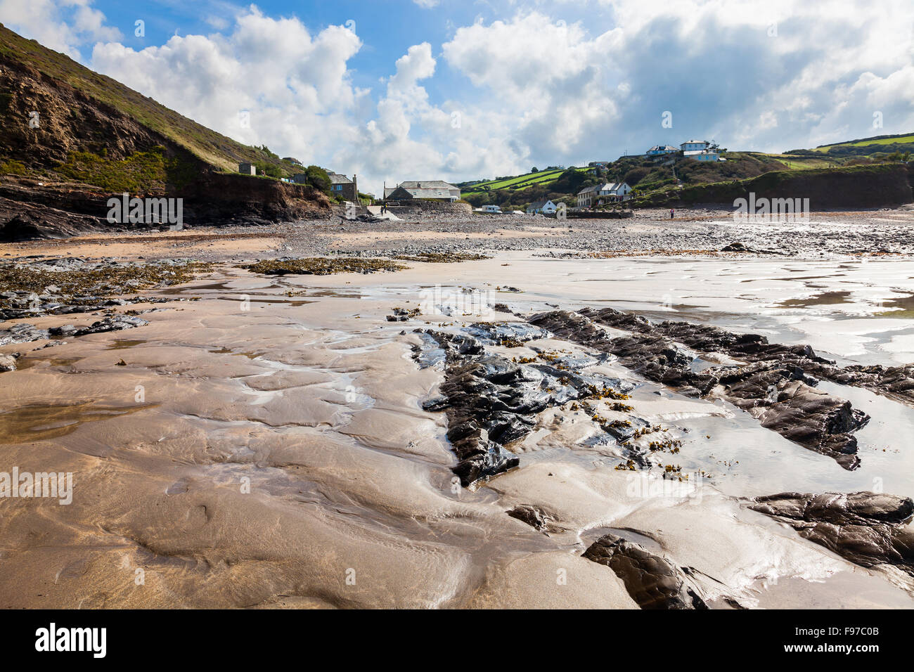 The beach at Crackington Haven on the North Cornwall coast England UK Europe - Stock Image