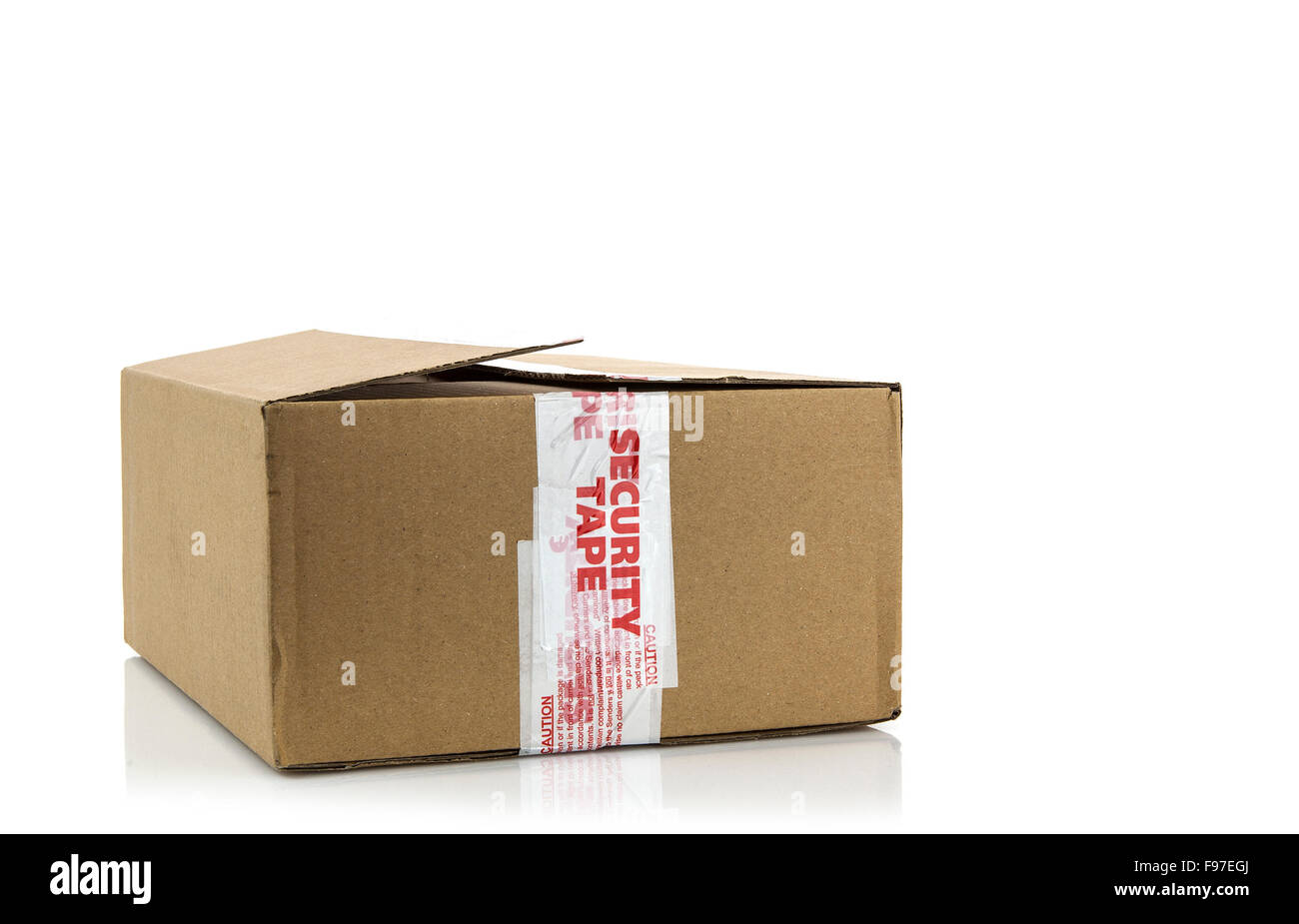 Cardboard Box with broken  security seal on white background - Stock Image
