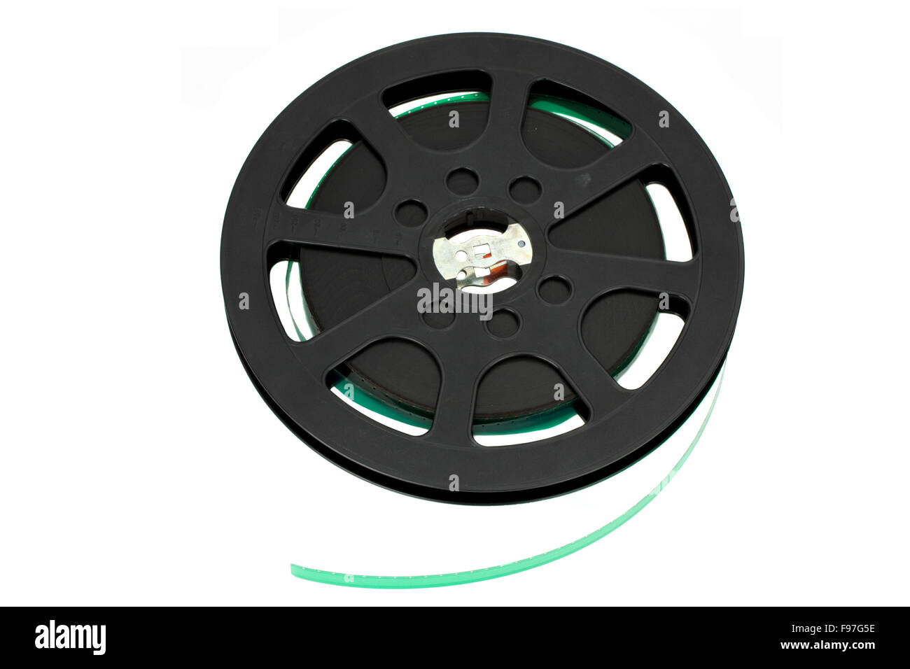 black 16 mm film reel isolated on white - Stock Image