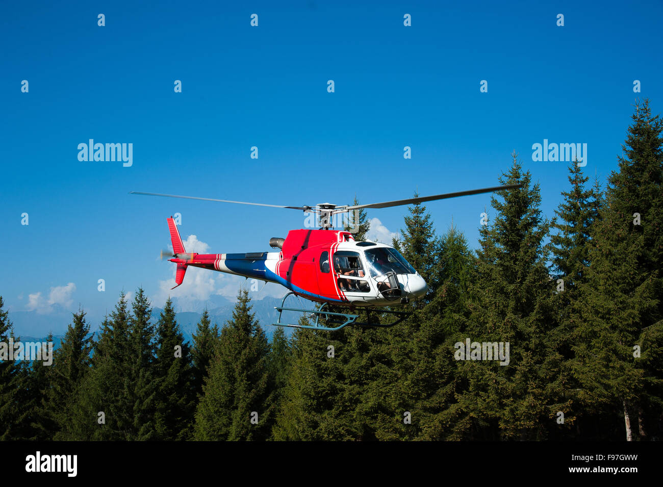 helicopter in the landing phase - Stock Image