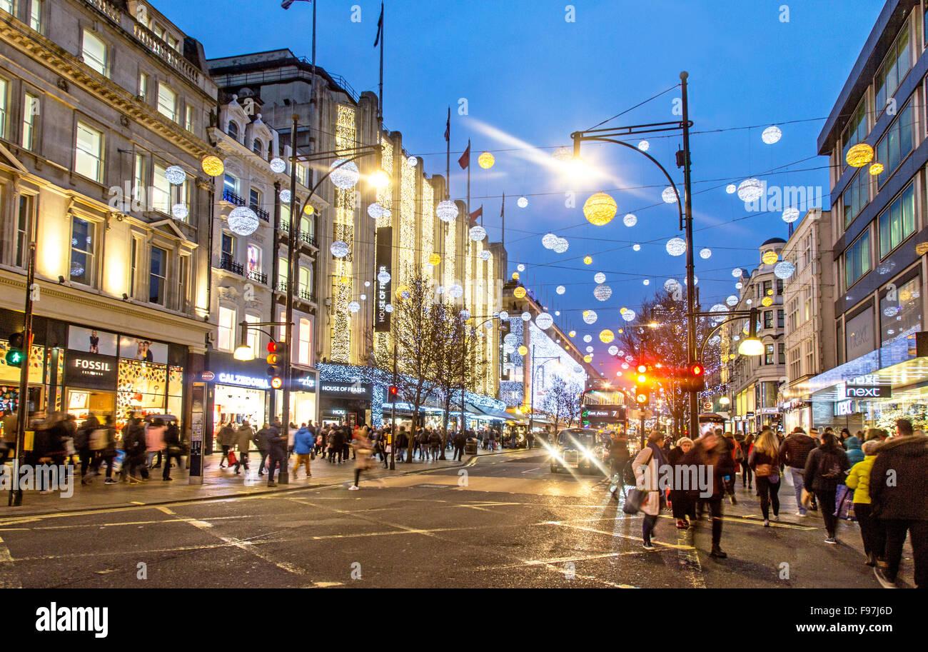 Christmas Lights Oxford Street London UK - Stock Image