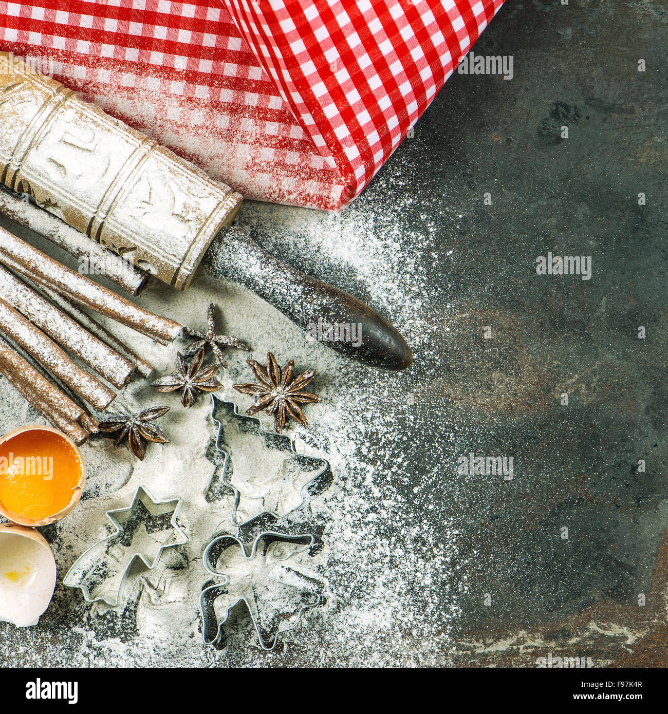 Christmas bakery. Baking ingredients and tolls. Vintage style toned picture - Stock Image