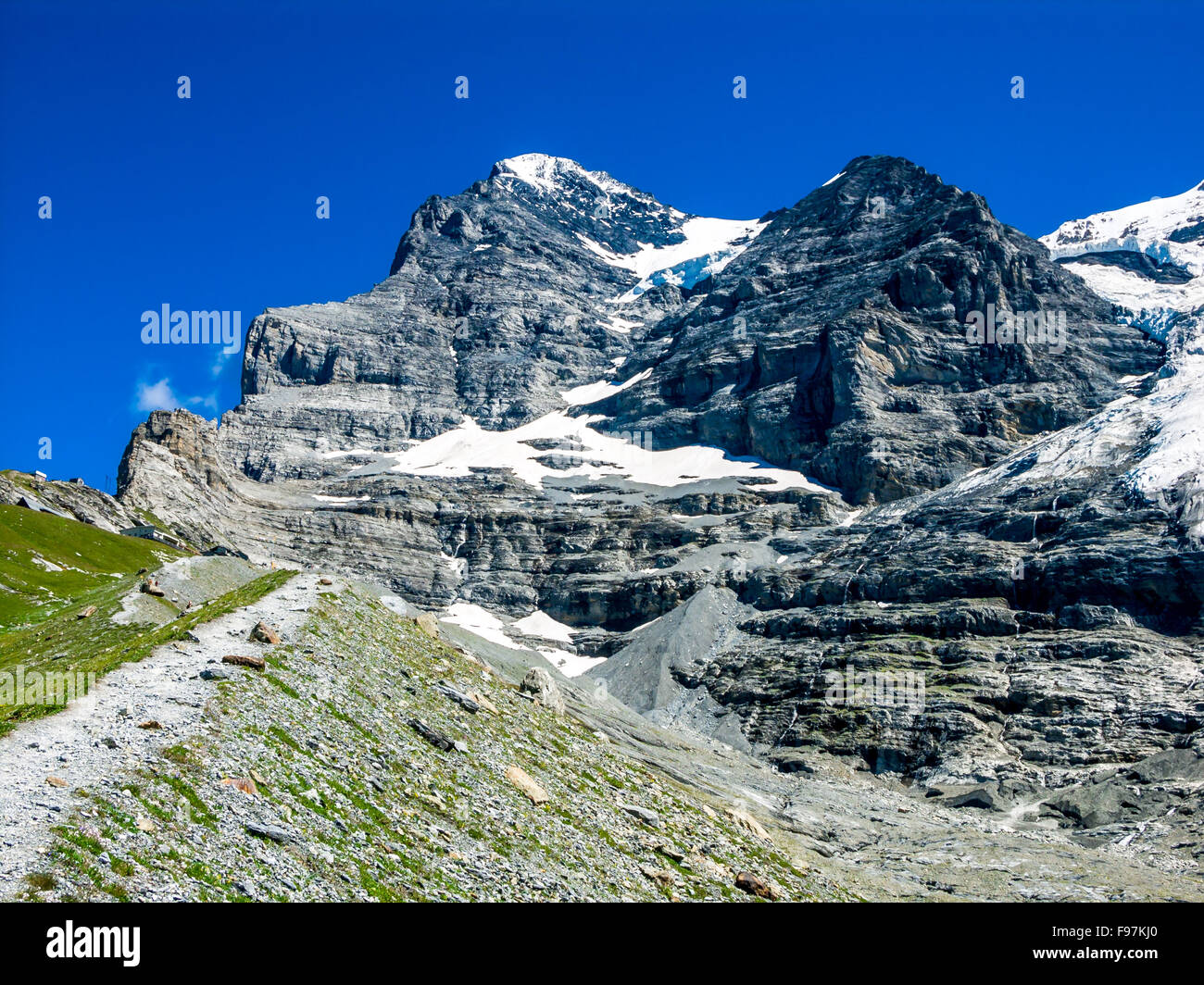 Eiger, Switzerland. One of amazing mountain peaks in Berner Oberland part of European Alps, main landmark of Swiss - Stock Image