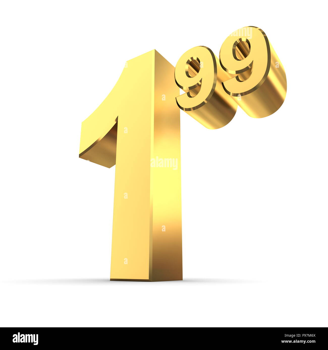Solid Price Tag Number 1 99 - Shiny Gold Stock Photo