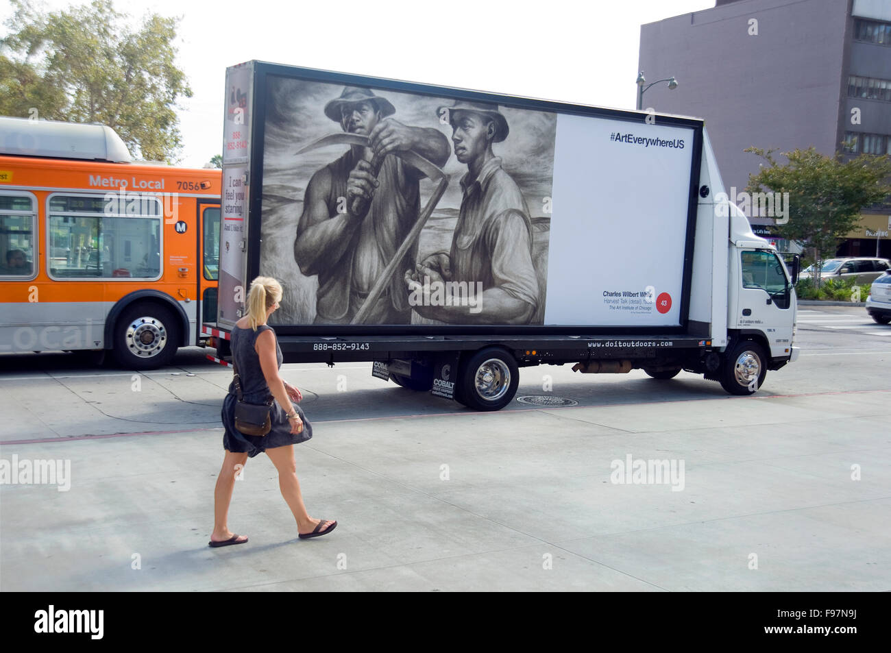 A Charles Wllbert White Painting Appears On Mobile Billboard Driving Along Wilshire Blvd Near The Los Angeles County Museum Of Art During