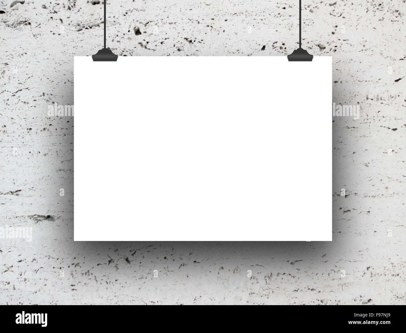 Close-up of one hanged horizontal paper sheet frame with clips on ...