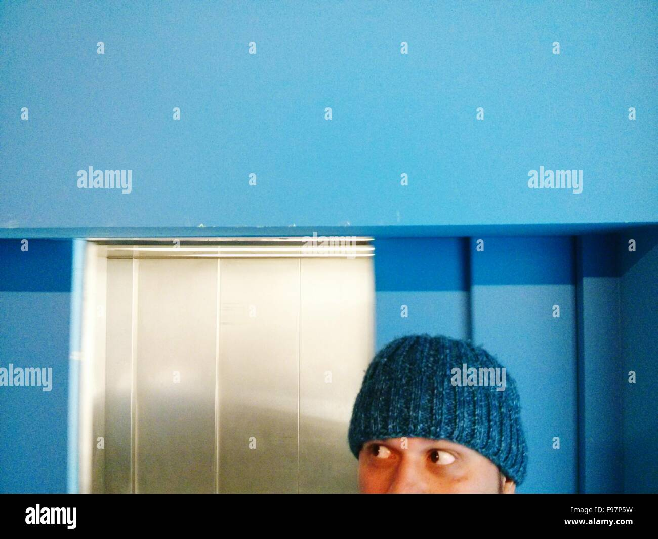 High Section View Of Man Wearing Knit Hat - Stock Image