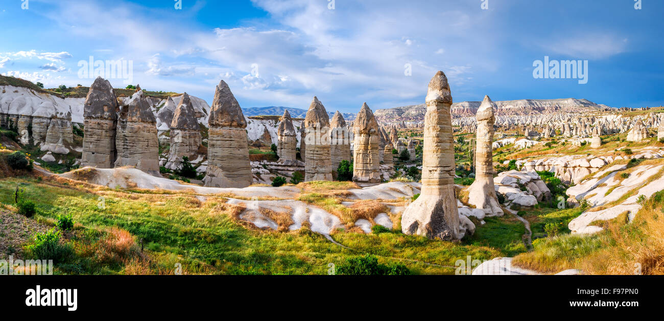 Cappadocia, Turkey. Amazing and idyllic Love Valley in natural park, landmark of Goreme with fairy chimney - Stock Image