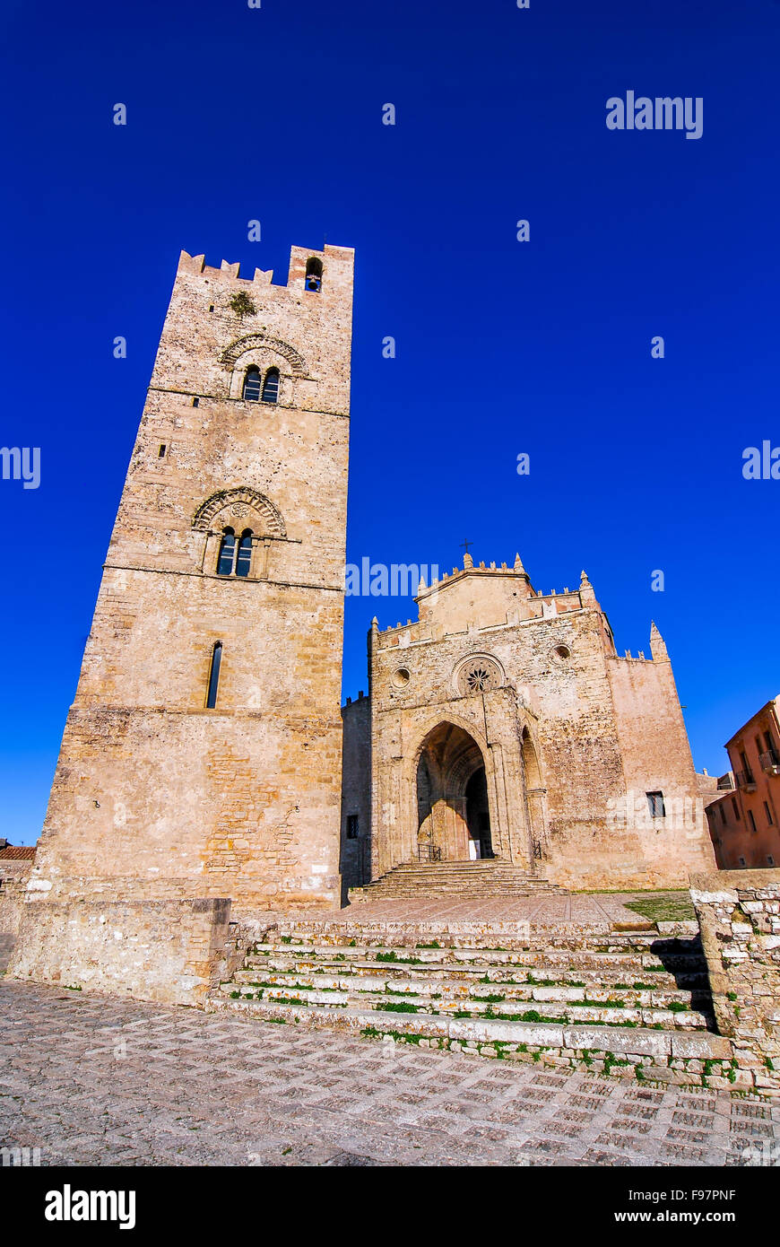 Erice, Sicily. Chiesa Madre (Matrice), Cathedral of Erix dedicated to Our Lady of the Assumption built in 1314. - Stock Image