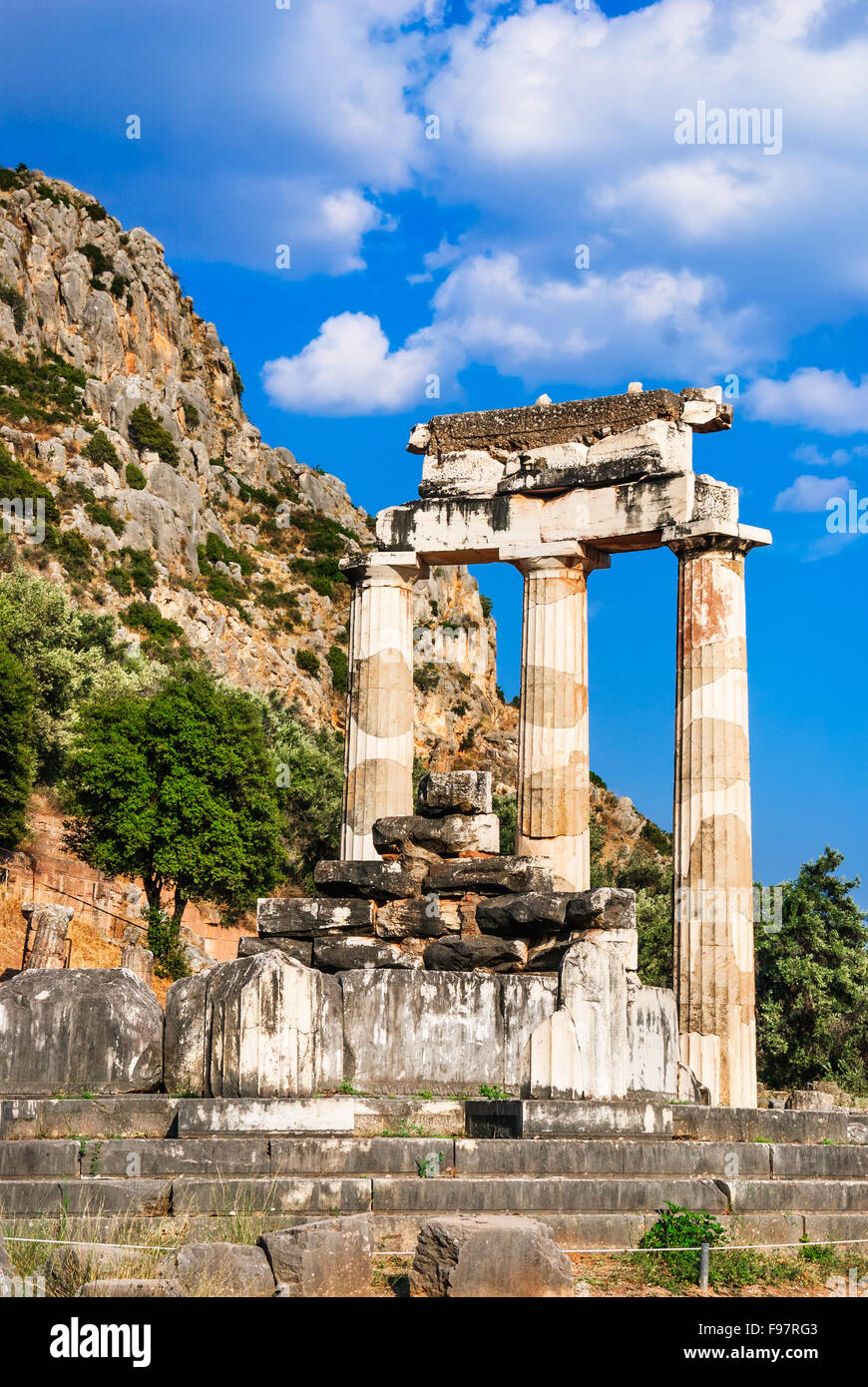 Ancient temple dedicated to Athena near Mount Parnassus, Delphi, Greece Stock Photo