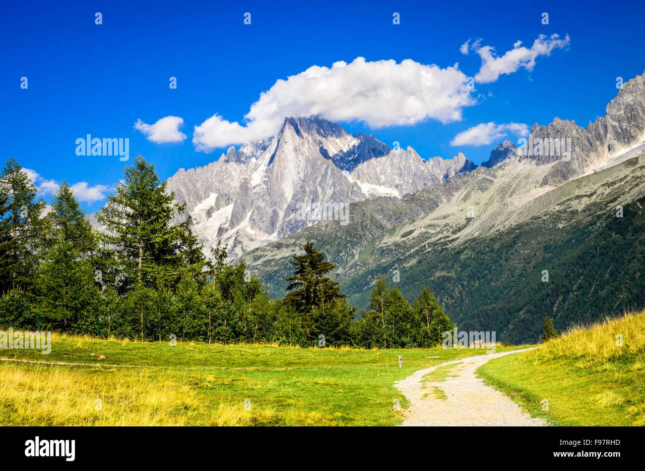 Mont Blanc, France. Summer scennery with amazing Aiguille du Midi conic mountain in Chamonix Haute-Savoie region - Stock Image