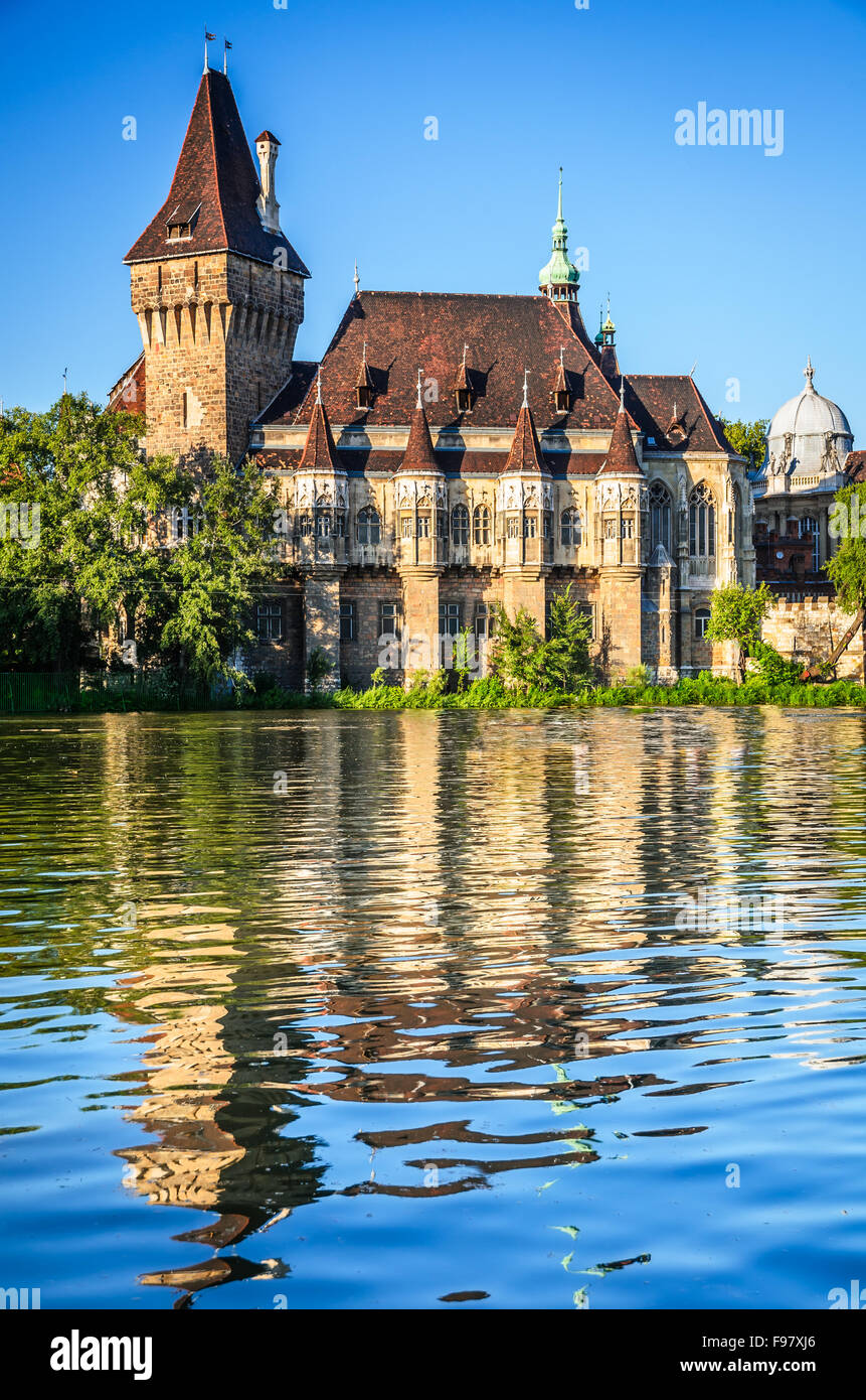 Budapest, Hungary. Scenery with water reflection of Vajdahunyad Castle in magyar capital. - Stock Image