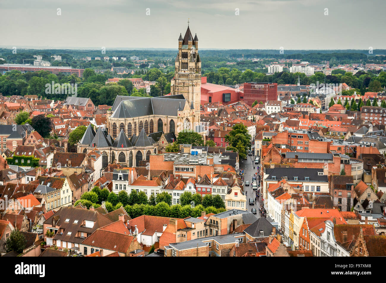 Bruges, Belgium. Top view of the Saint Salvator Cathedral in Brugge city of Flanders, belgian culture heritage. - Stock Image