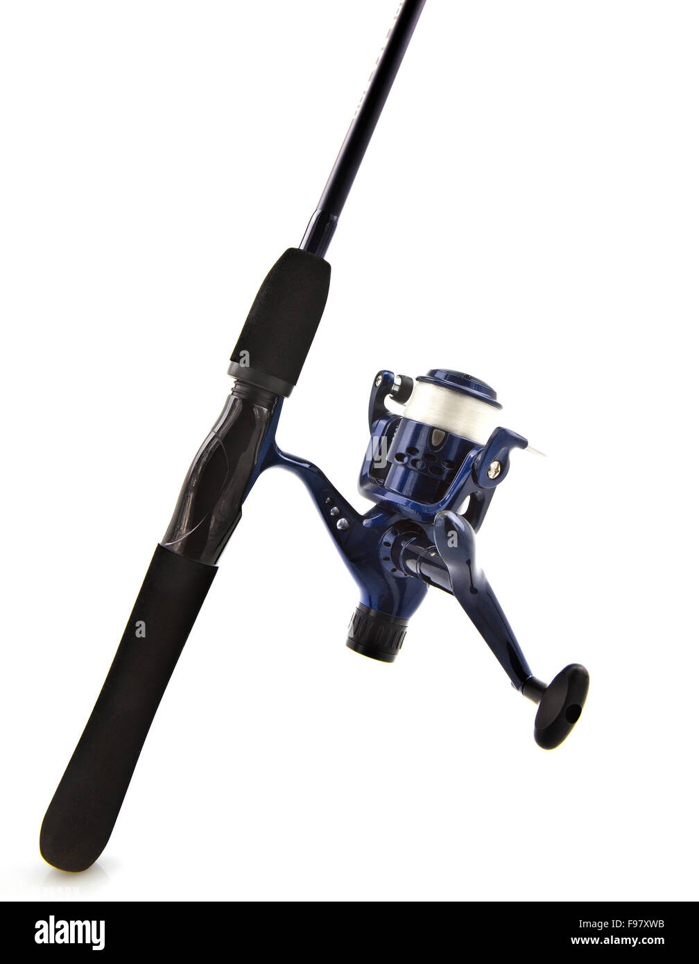 Fishing rod and reel  isolated on white. - Stock Image