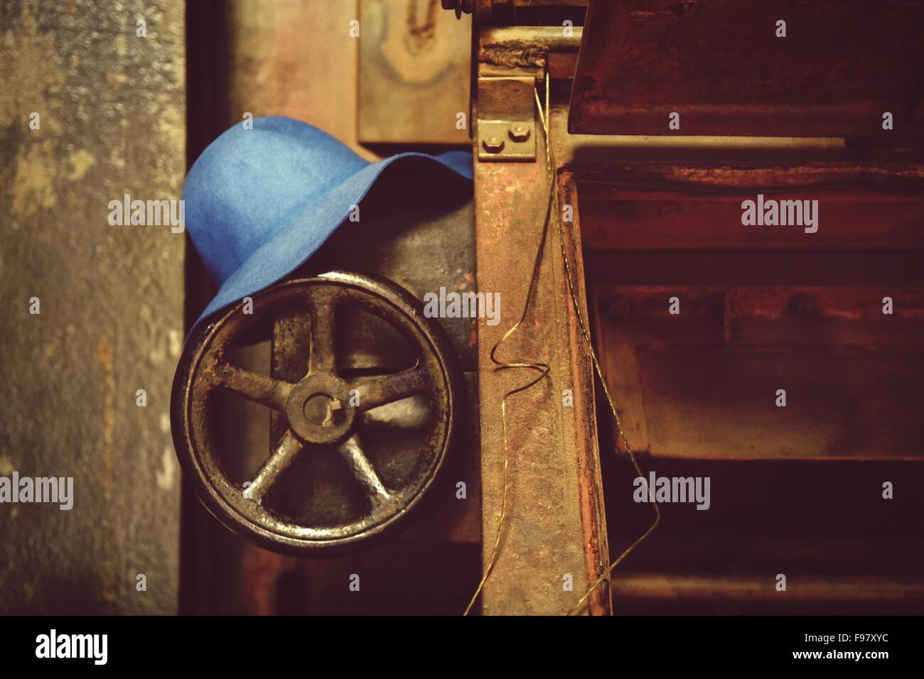 Close-Up Of Hat On Valve In Abandoned Factory - Stock Image