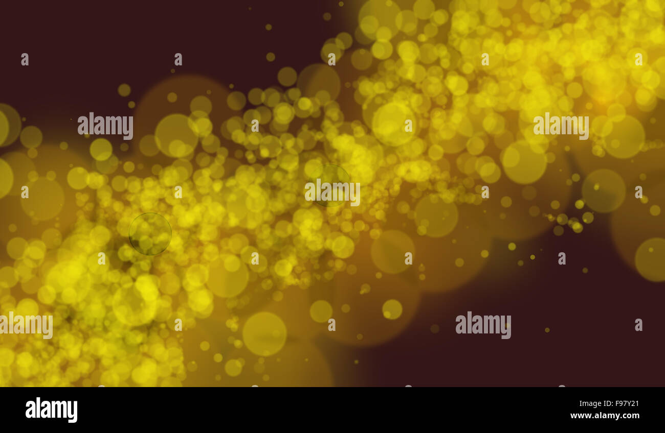 Yellow defocused lights on a graduated background using a diagonal composition - Stock Image
