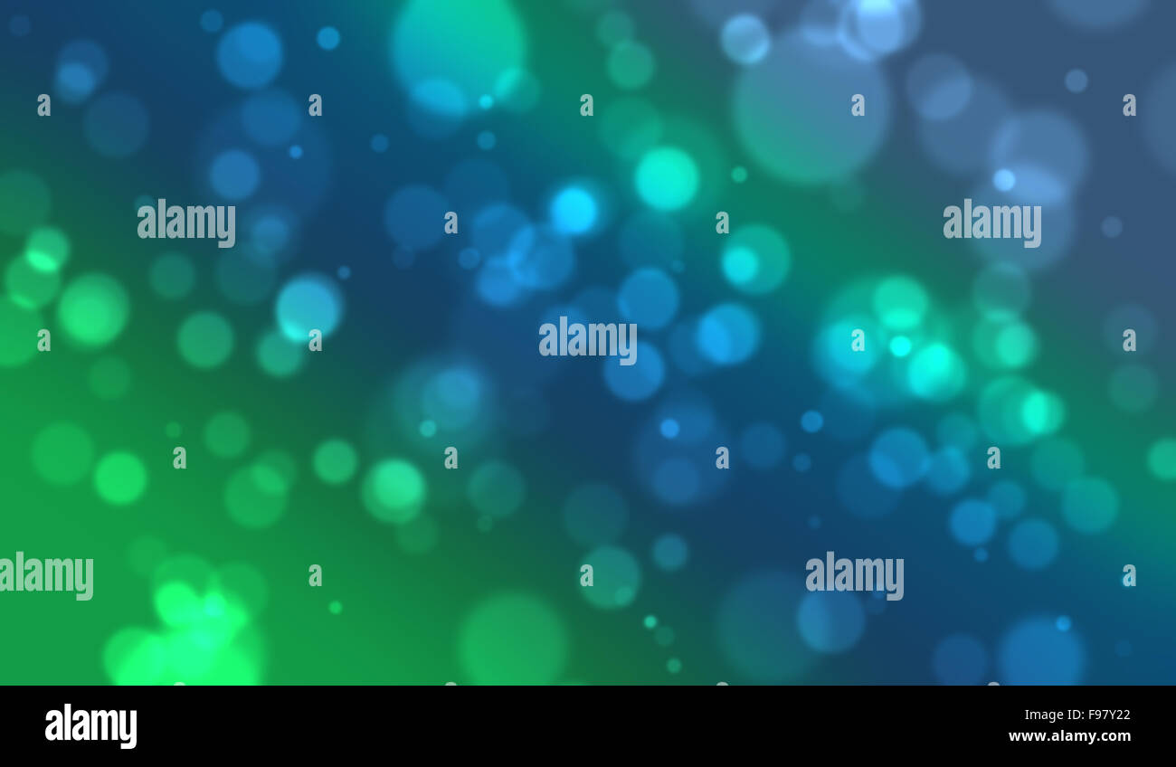 White defocused blurred lights on a blue and green background. Stock Photo