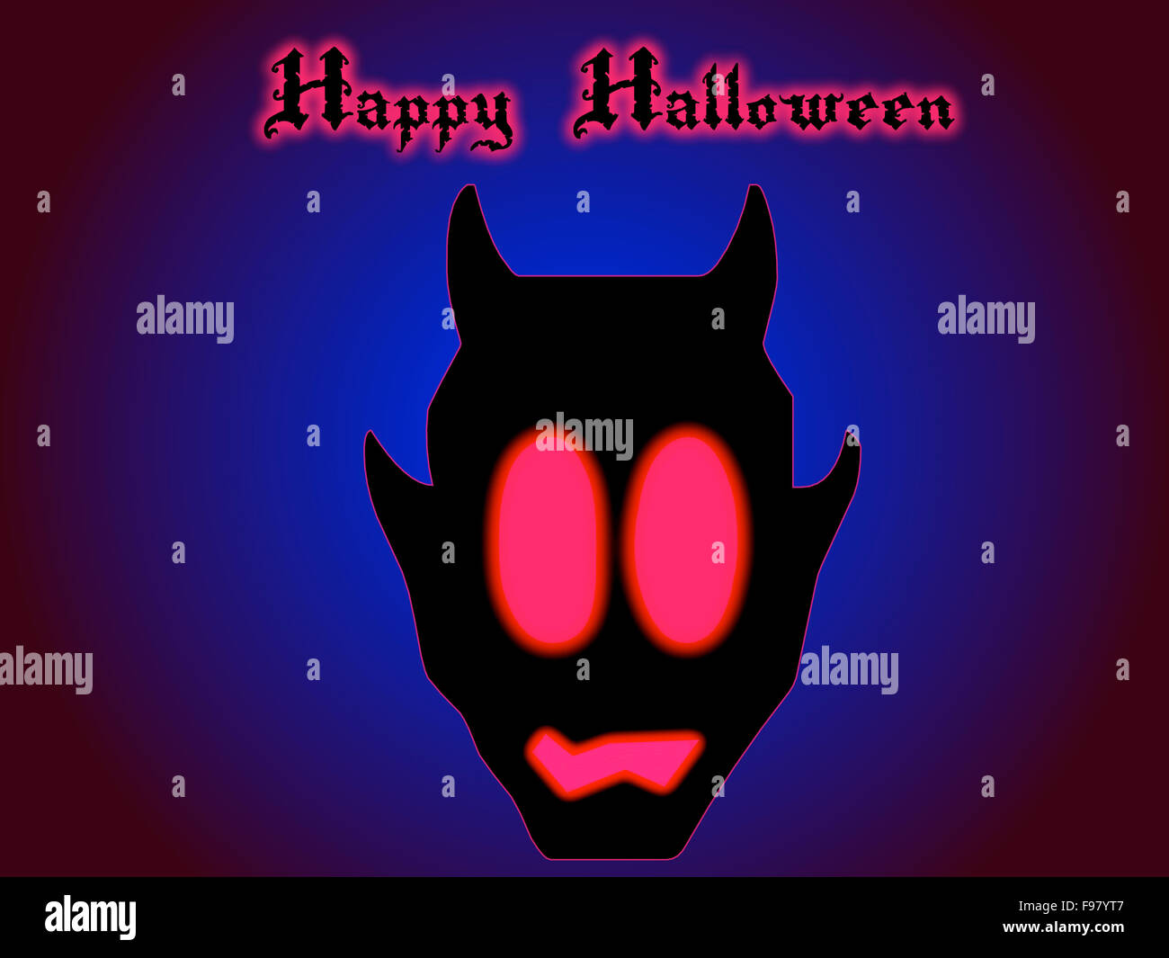 Happy Halloween Card With Devil And His Fierce Glowing Red Eyes