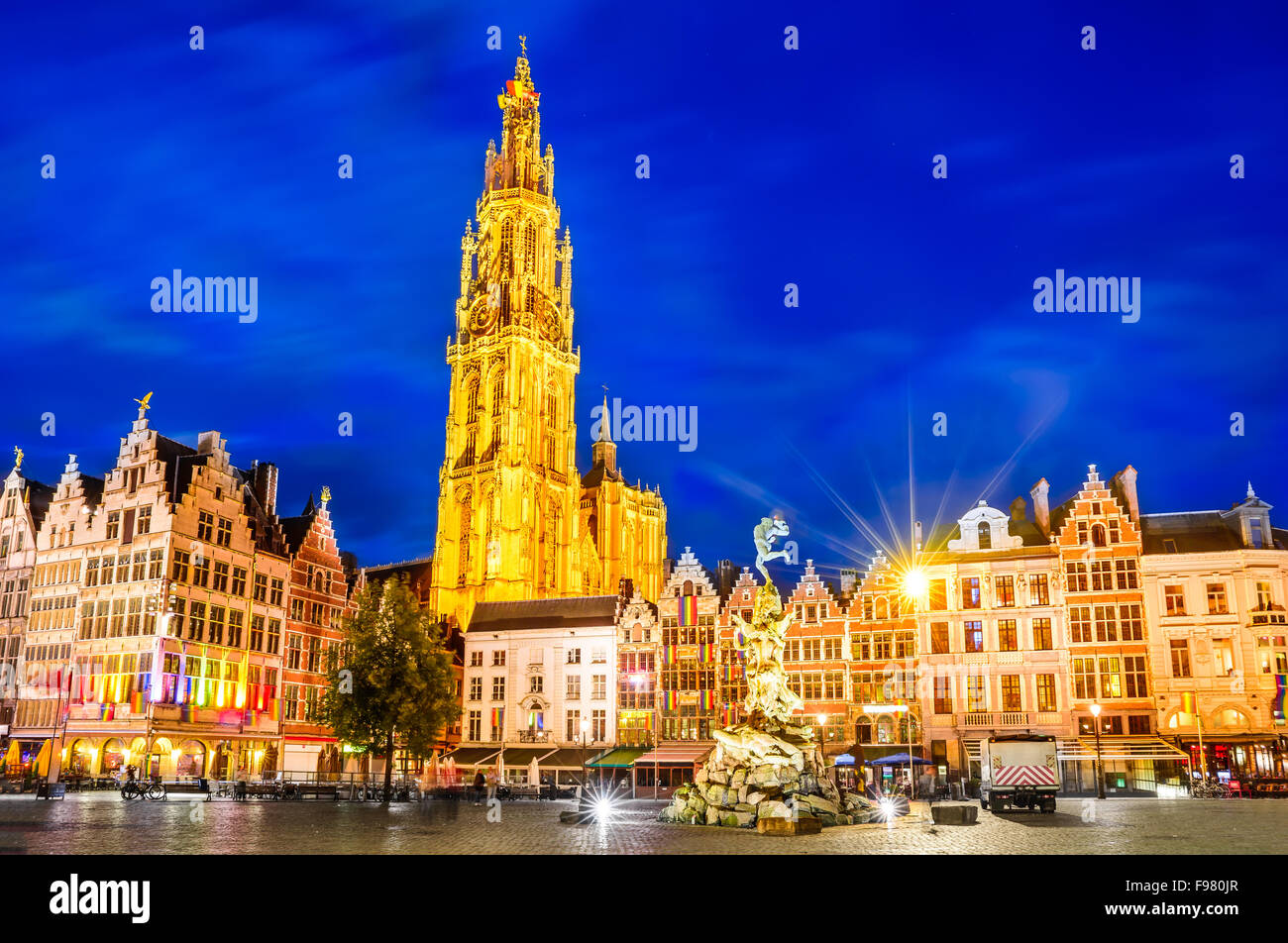 Antwerpen, Belgium. Night scene in downtown Antwerp, Belgium along the famous Meir Street and the lonely tower of Stock Photo