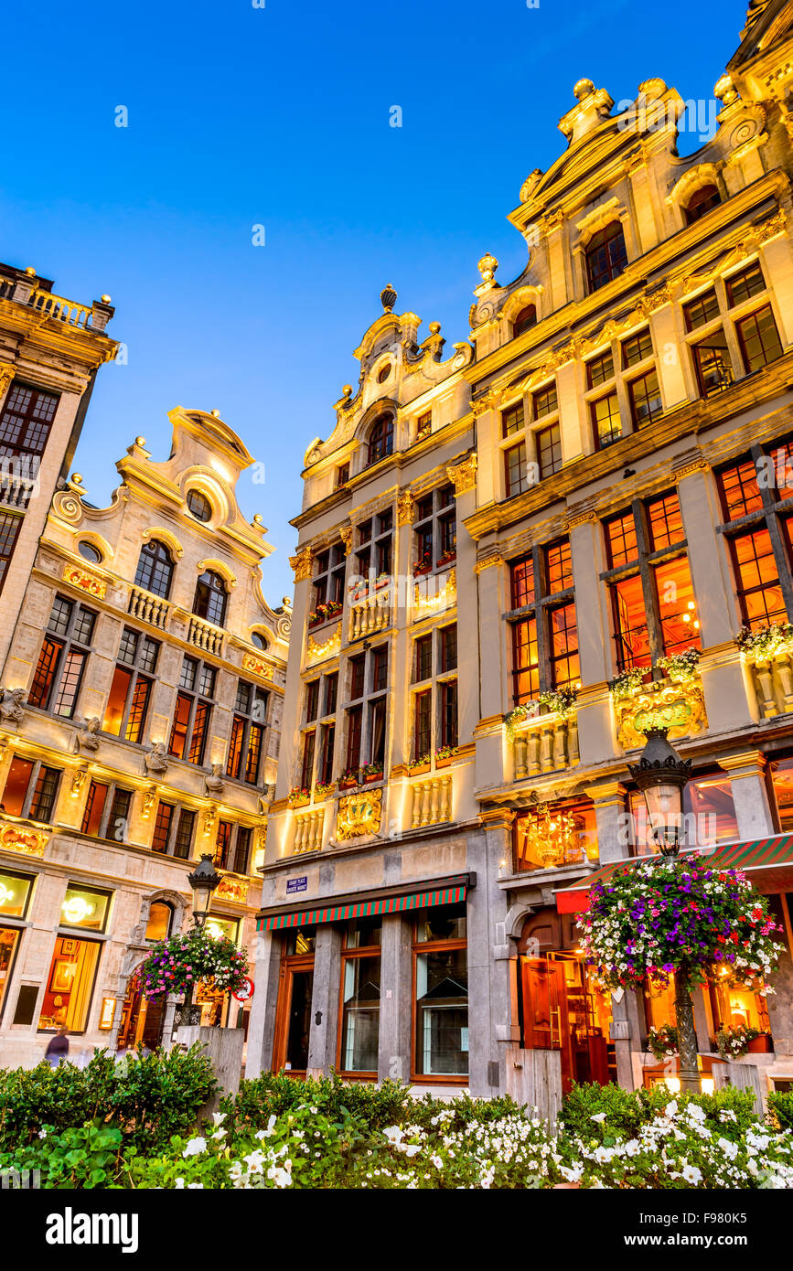 Bruxelles, Belgium. Twilight image with Grand Place in Brussels (Grote Markt) and medieval architecture house facades. Stock Photo