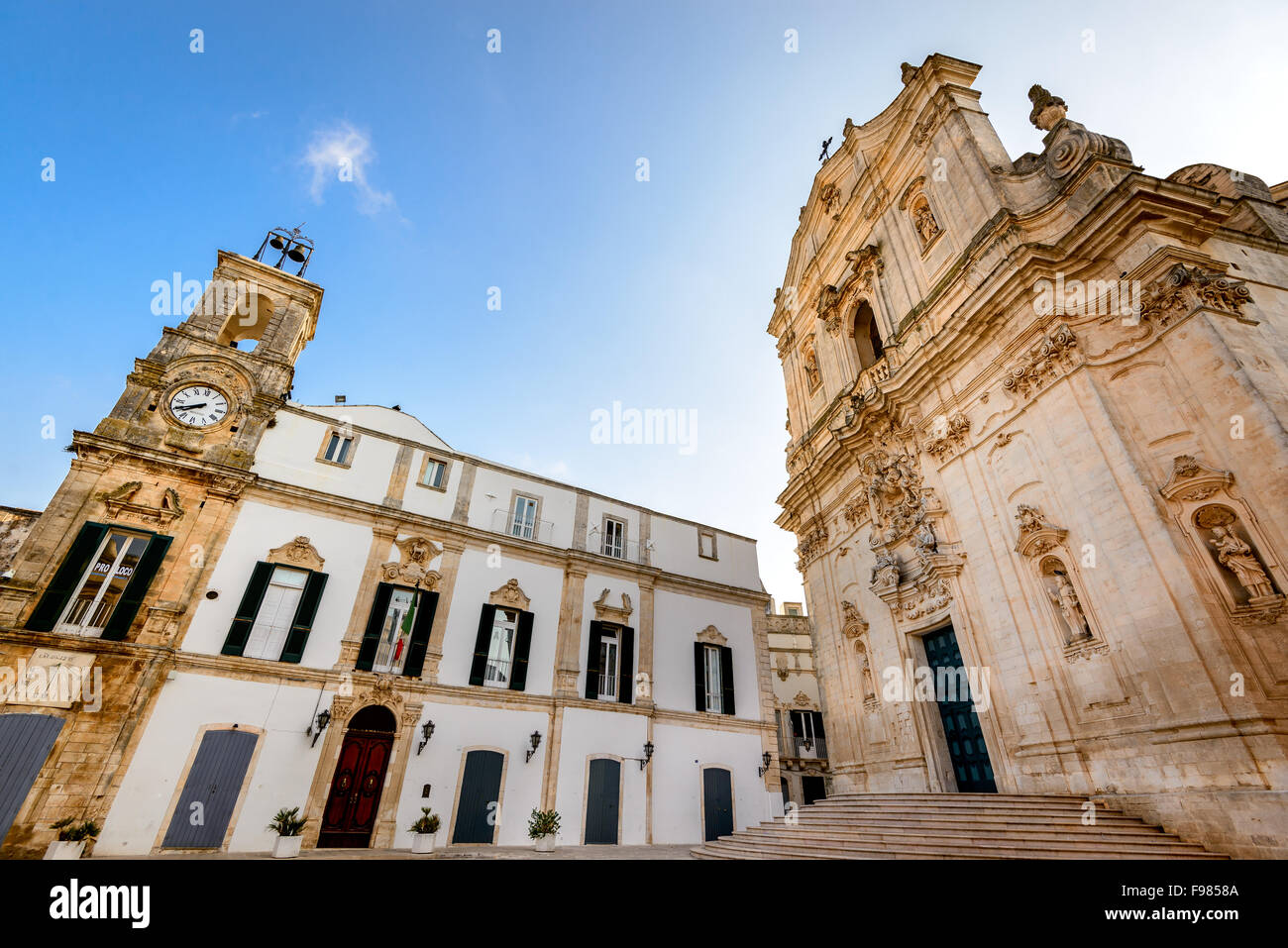 Martina Franca, Puglia. Basilica of San Martino at the Piazza Plebiscito, Taranto province, Apulia in South Italy. - Stock Image