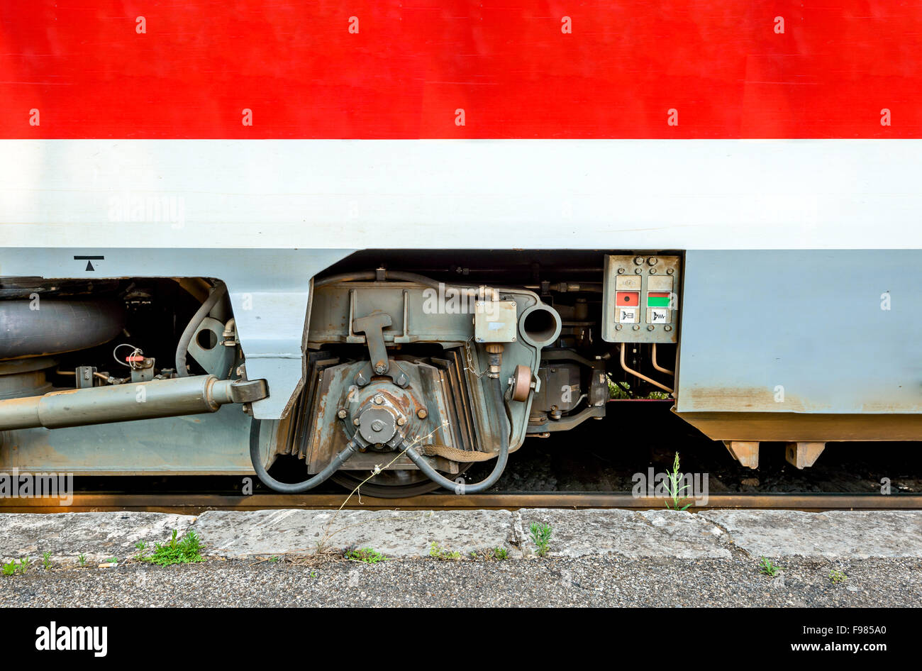 Modern train detail. Wheel axle from the wagon. - Stock Image