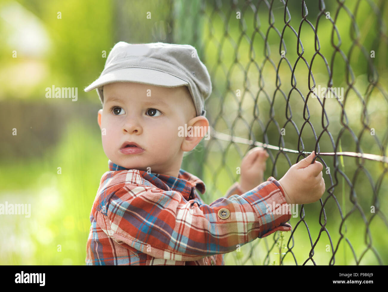Cute Little Baby Boy Looking Through Fence Stock Photo 91764577 Alamy