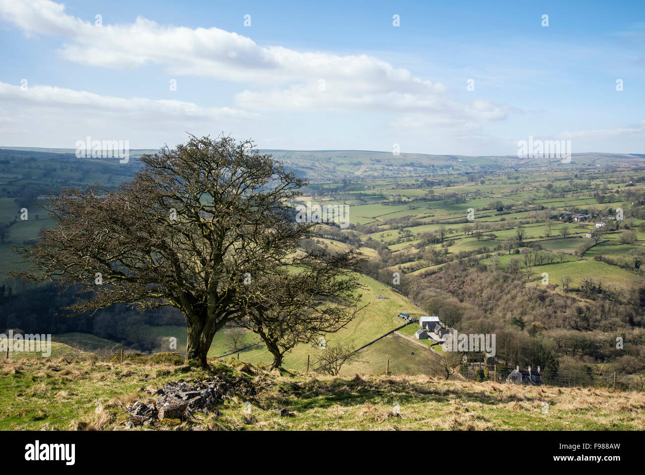 Beautiful landscape image of Peak District on bright sunny Spring day Stock Photo