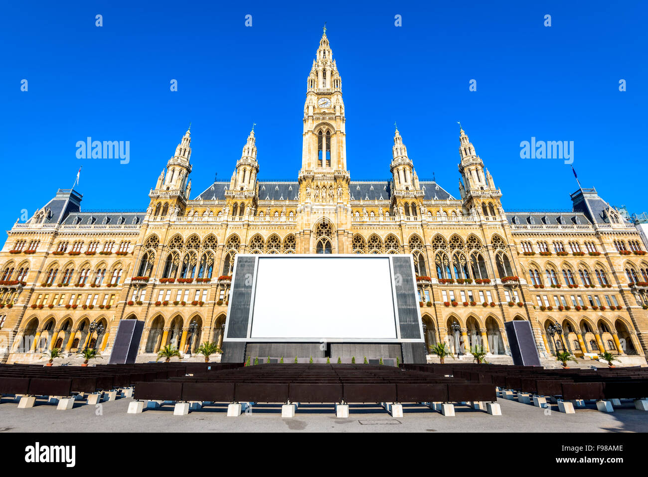 Vienna, Austria. The outside of the Rathaus in Vienna which serves as the Town Hall. Stock Photo