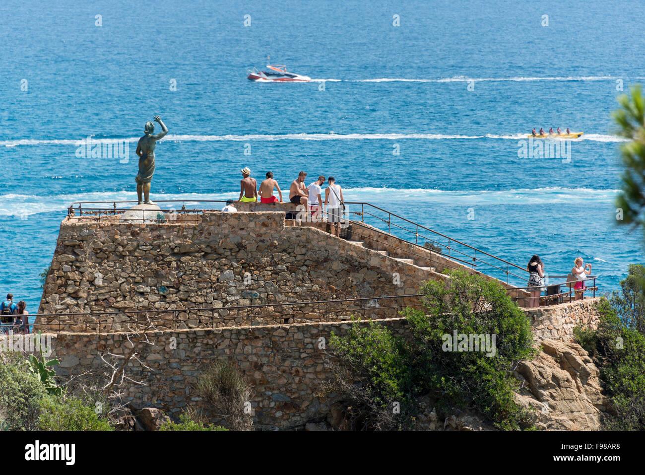 Monument to the Fisherman's Wife, Lloret de Mar, Costa Brava, Province of Girona, Catalonia, Spain - Stock Image