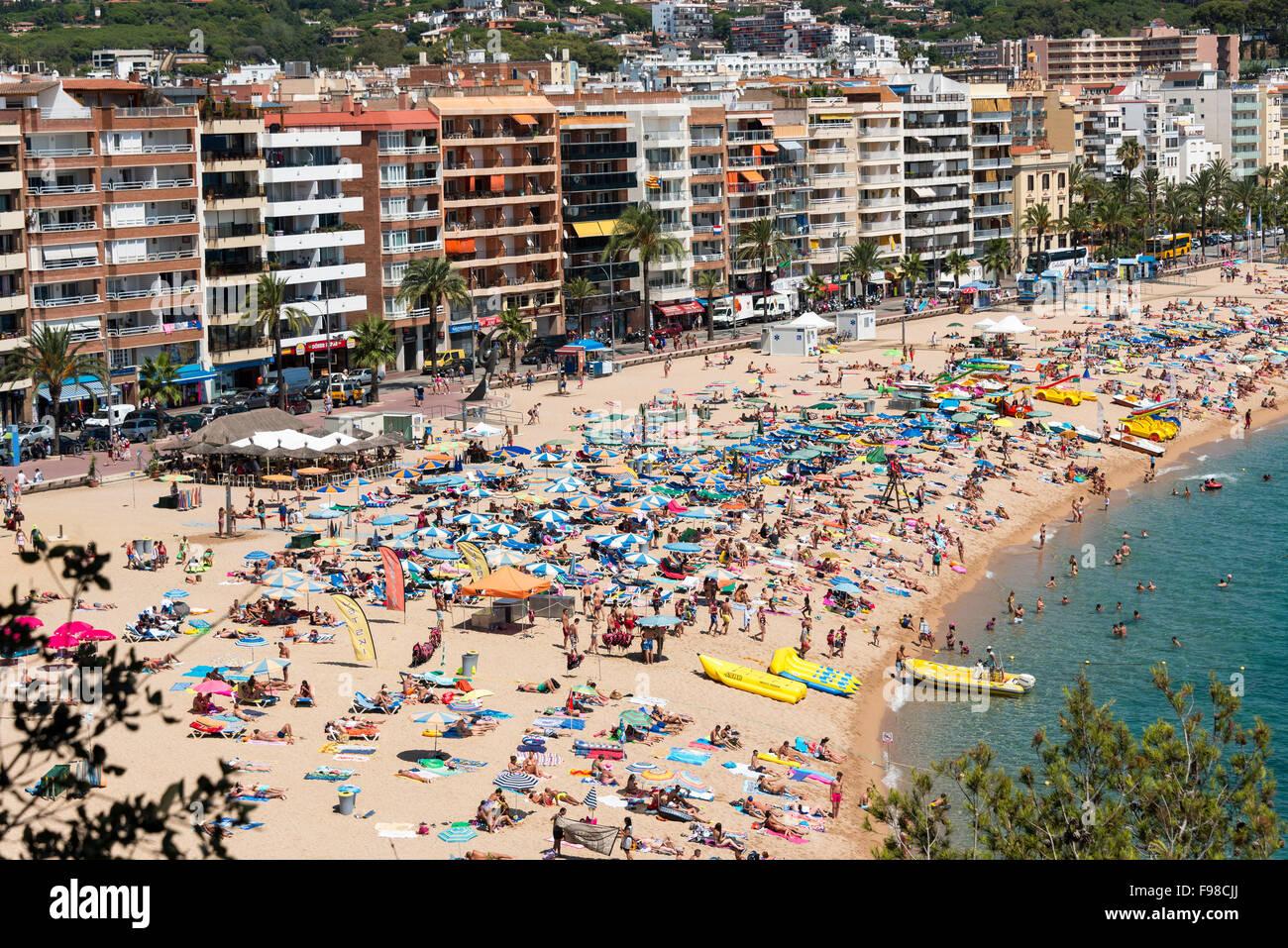 Lloret beach, Lloret de Mar, Costa Brava, Province of Girona, Catalonia, Spain - Stock Image