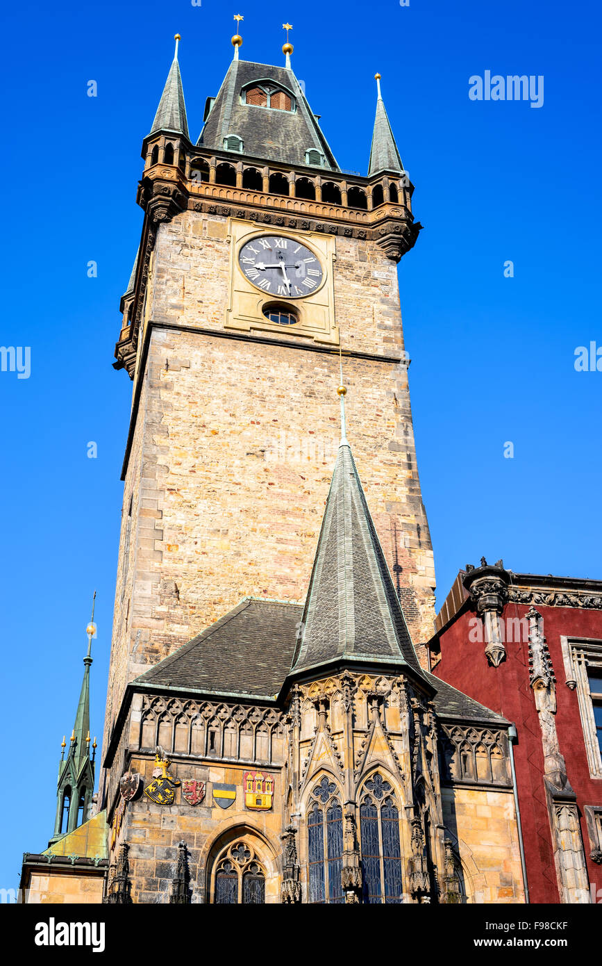 Prague, Czech Republic. Old Town Hall built in 1388, Gohtic architecture style in Bohemia capital city. - Stock Image