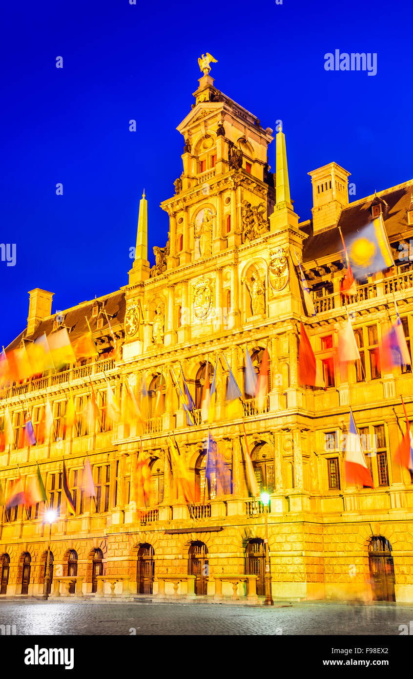 Grote Markt, Antwerp in Belgium spectacular central square and elegant 16th-century Stadhuis (town hall) dressed - Stock Image