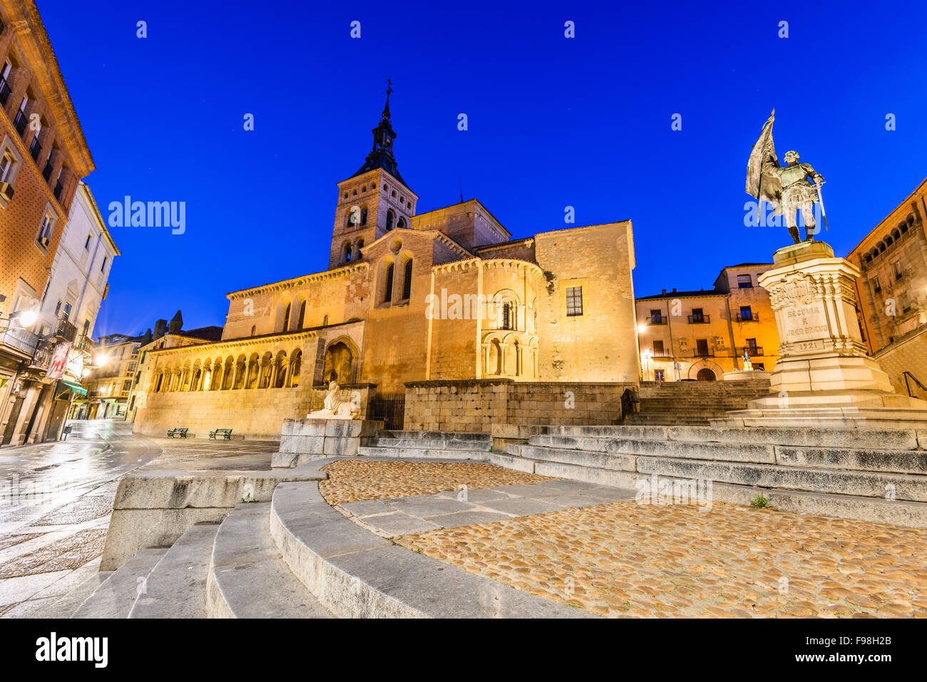 Segovia, Spain. Plaza de Medina del Campo with San Martin Church, twilight of Castile, Castillia. - Stock Image