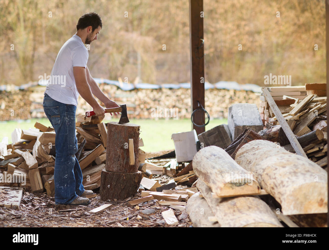 Young man chopping wood in his backyard - Stock Image