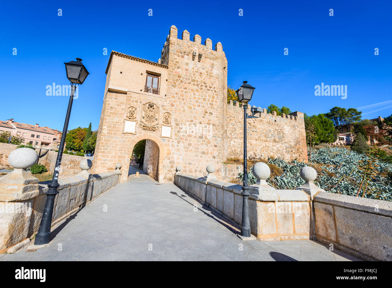 Toledo, Spain. Puente de San Martin is a medieval bridge across the river Tajo in Toledo, Spain. - Stock Image