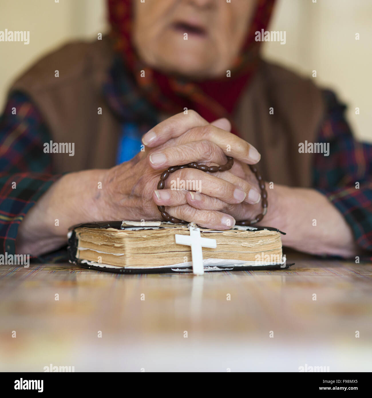 Detail Of Very Old Woman In Head Scarf Praying Stock Photo 91775773