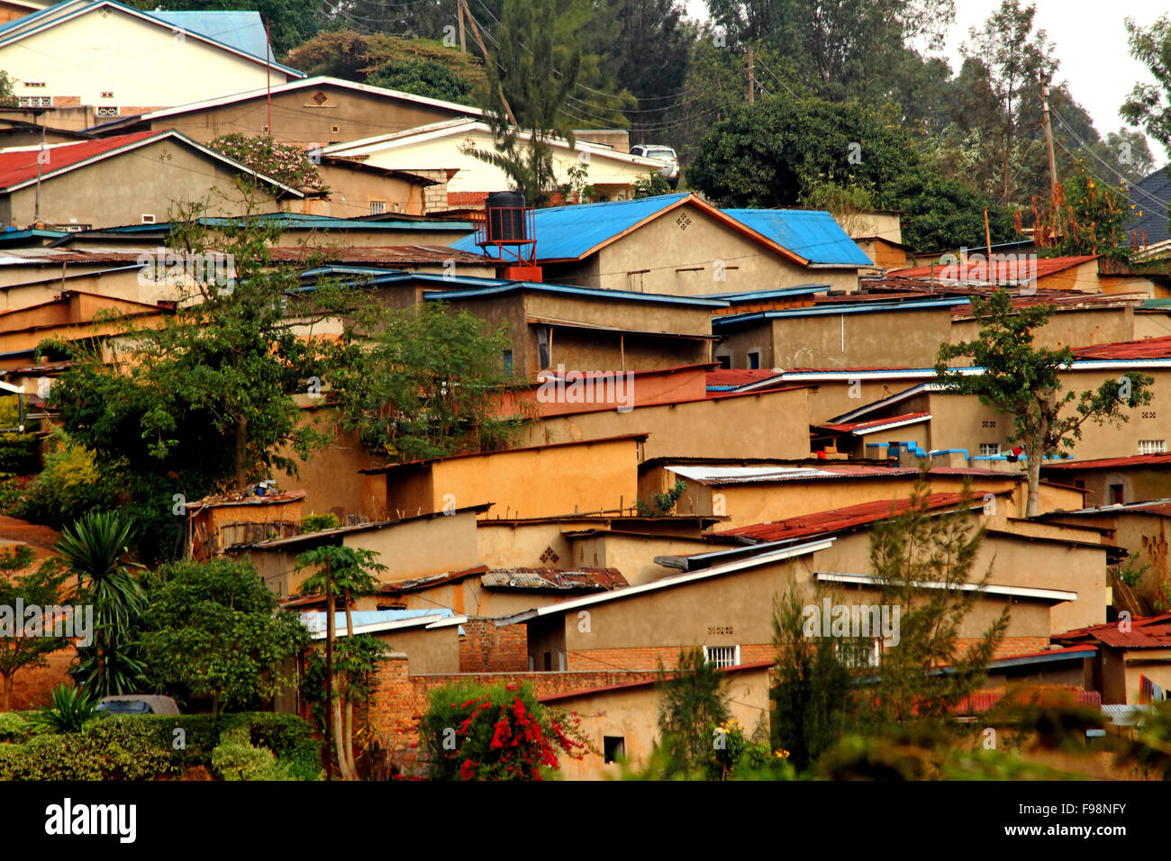 Houses on a hill in Kigali, Rwanda - Stock Image