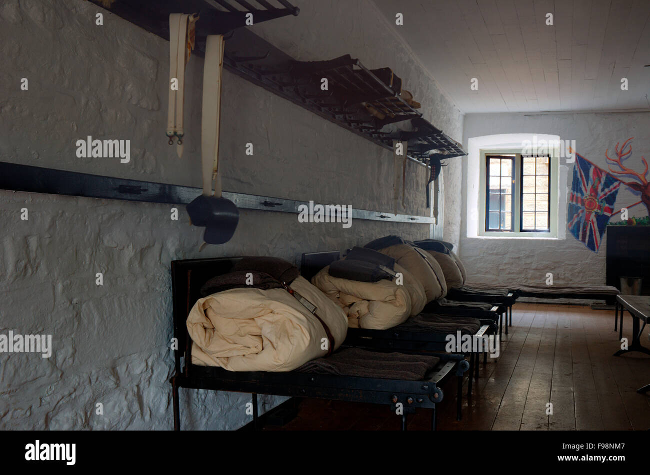 Barracks at the Citadel National Historic Sight. The bunks and bedding are just as they were when troops were living - Stock Image
