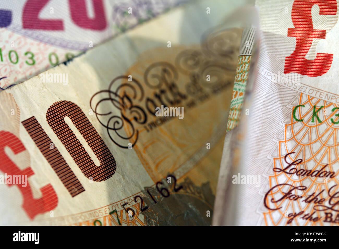 Ten and Twenty Pound Notes - Stock Image