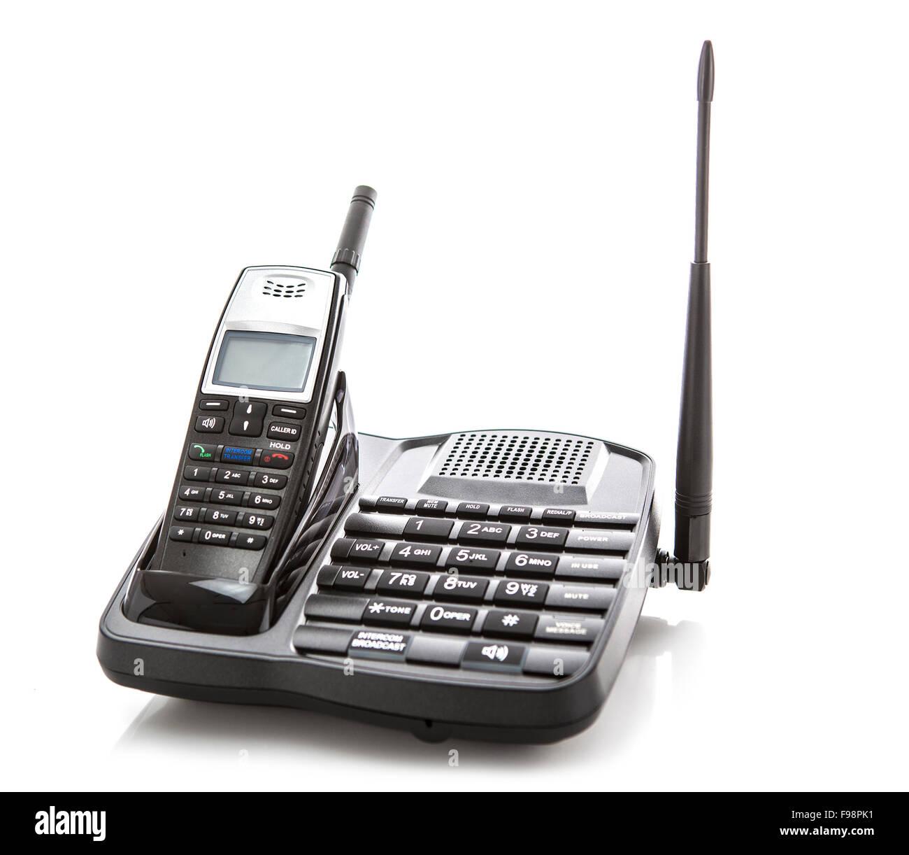 Long Range cordless phone on white background - Stock Image