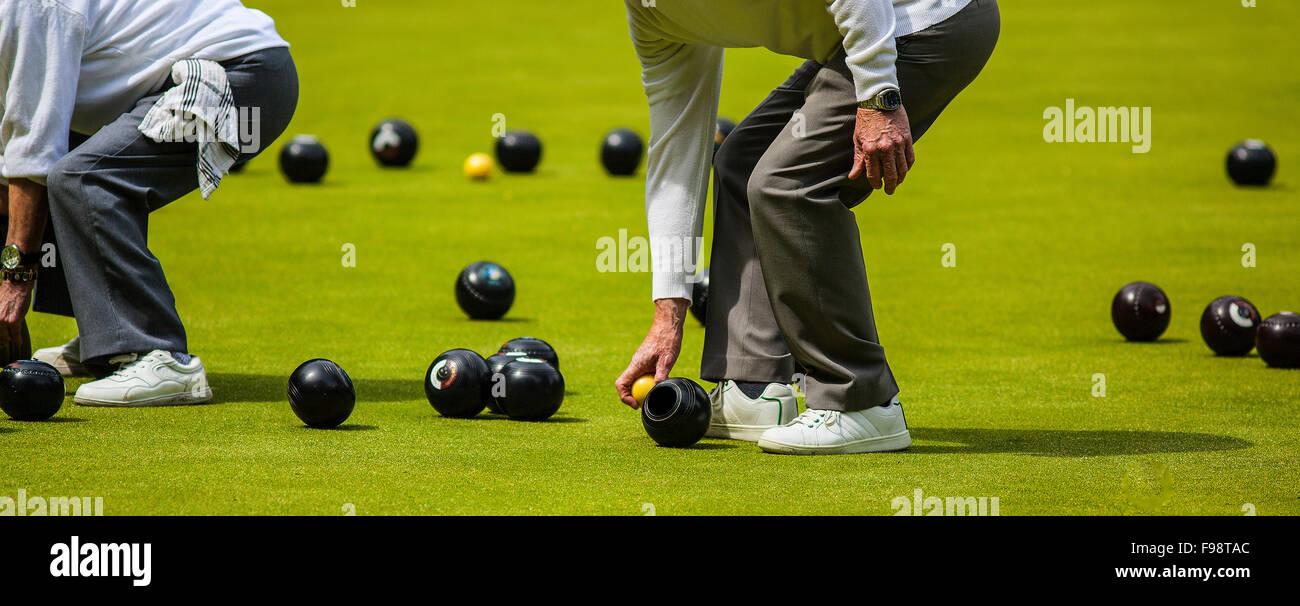 Men Playing Lawn Bowls - Stock Image