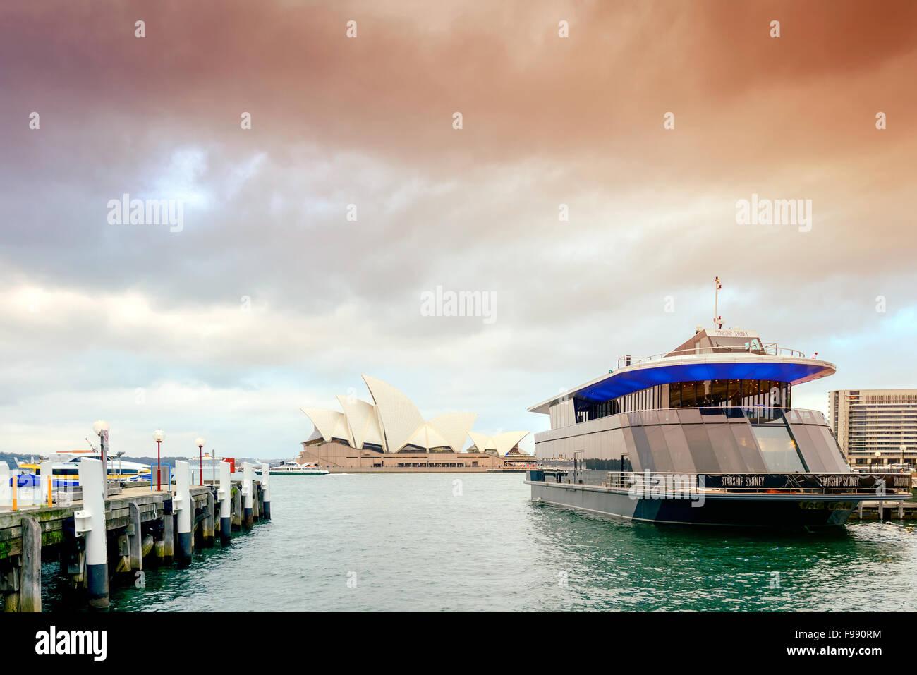Sydney, Australia - November 7, 2015: Starship Sydney docked in Sydney Cove and ready to depart for the wedding - Stock Image